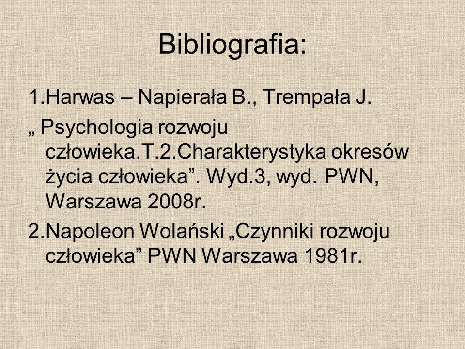 Bibliografia: 1.Harwas – Napierała B., Trempała J. Psychologia rozwoju człowieka.T.2.Charakterystyka okresów życia człowieka. Wyd.3, wyd. PWN, Warszaw