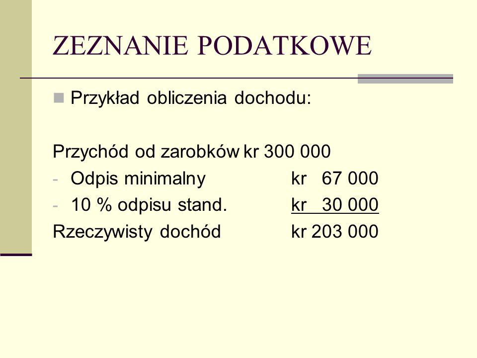 ZEZNANIE PODATKOWE Przykład obliczenia dochodu: Przychód od zarobkówkr 300 000 - Odpis minimalnykr 67 000 - 10 % odpisu stand.kr 30 000 Rzeczywisty dochódkr 203 000