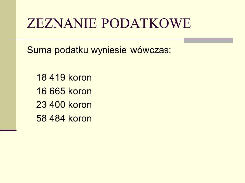 ZEZNANIE PODATKOWE Suma podatku wyniesie wówczas: 18 419 koron 16 665 koron 23 400 koron 58 484 koron