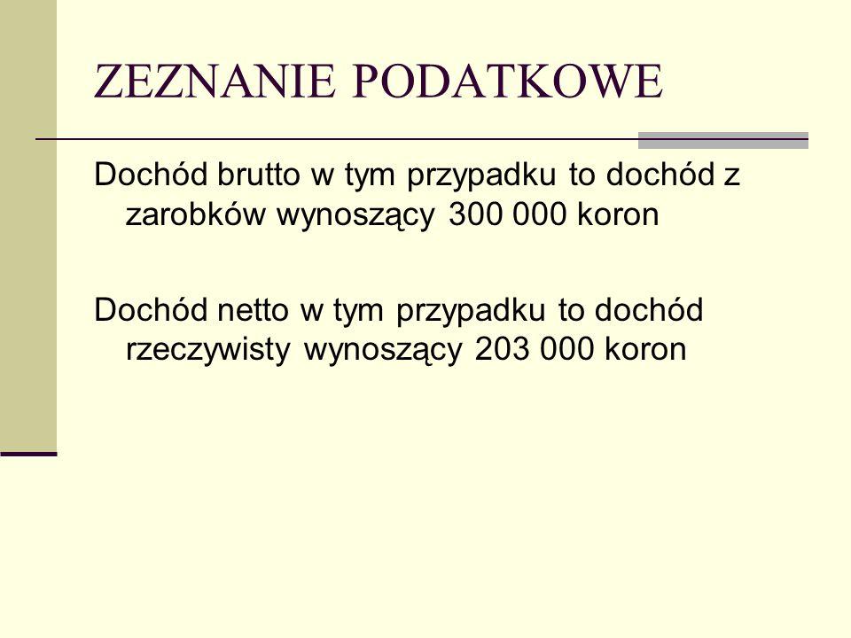 ZEZNANIE PODATKOWE Dochód brutto w tym przypadku to dochód z zarobków wynoszący 300 000 koron Dochód netto w tym przypadku to dochód rzeczywisty wynoszący 203 000 koron