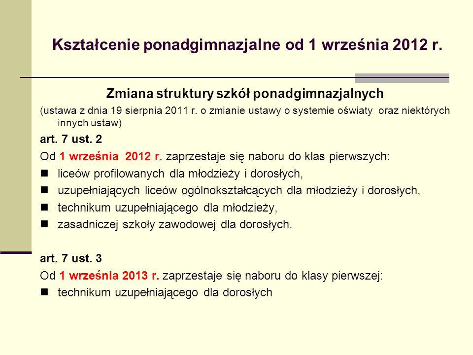 Kształcenie ponadgimnazjalne od 1 września 2012 r. Zmiana struktury szkół ponadgimnazjalnych (ustawa z dnia 19 sierpnia 2011 r. o zmianie ustawy o sys