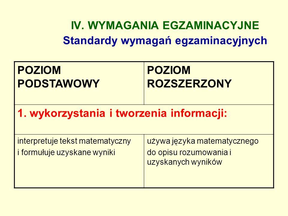 IV. WYMAGANIA EGZAMINACYJNE Standardy wymagań egzaminacyjnych POZIOM PODSTAWOWY POZIOM ROZSZERZONY 1. wykorzystania i tworzenia informacji: interpretu