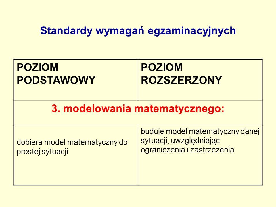 Standardy wymagań egzaminacyjnych POZIOM PODSTAWOWY POZIOM ROZSZERZONY 3. modelowania matematycznego: dobiera model matematyczny do prostej sytuacji b