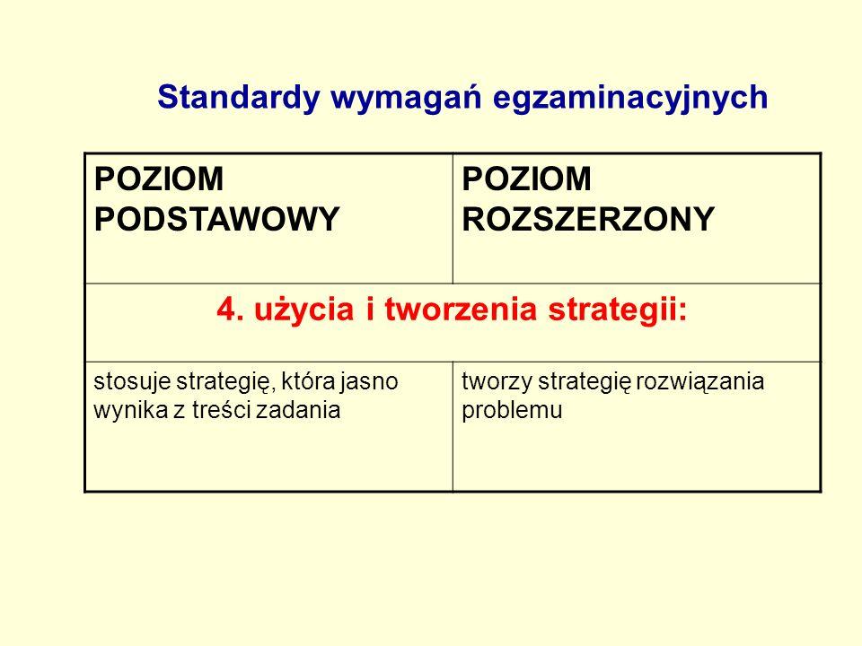 Standardy wymagań egzaminacyjnych POZIOM PODSTAWOWY POZIOM ROZSZERZONY 4. użycia i tworzenia strategii: stosuje strategię, która jasno wynika z treści