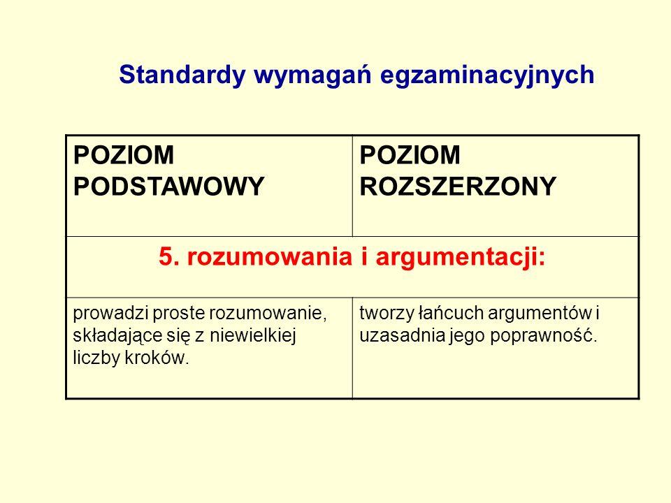 Standardy wymagań egzaminacyjnych POZIOM PODSTAWOWY POZIOM ROZSZERZONY 5. rozumowania i argumentacji: prowadzi proste rozumowanie, składające się z ni