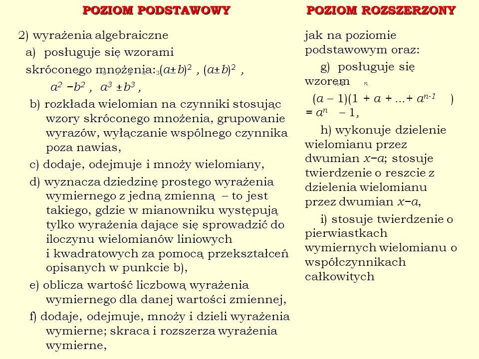 POZIOM PODSTAWOWY POZIOM ROZSZERZONY 2) wyrażenia algebraiczne posługuje się wzorami a) posługuje się wzorami skróconego mnożenia: ( a b ) 2, ( a b )