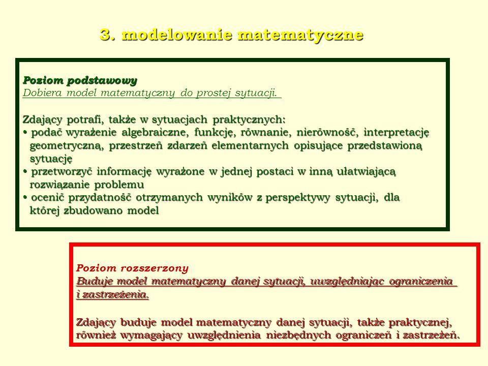 3. modelowanie matematyczne Poziom podstawowy Dobiera model matematyczny do prostej sytuacji. Zdający potrafi, także w sytuacjach praktycznych: podać