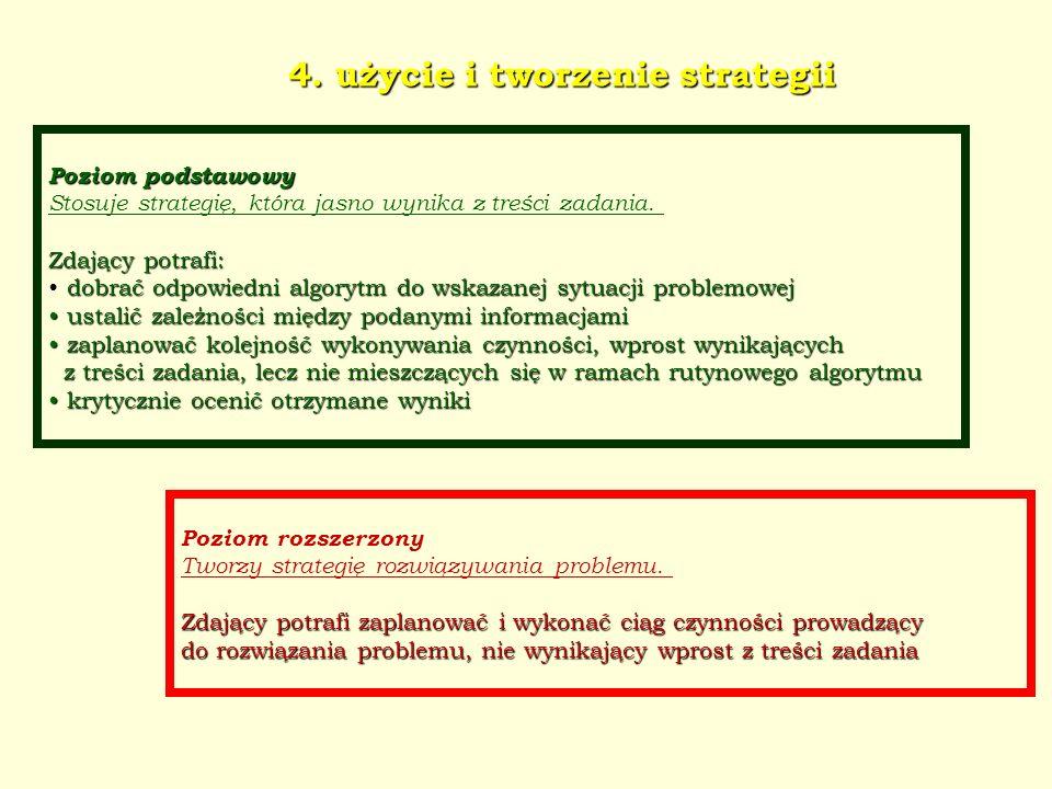 4. użycie i tworzenie strategii Poziom podstawowy Stosuje strategię, która jasno wynika z treści zadania. Zdający potrafi: dobrać odpowiedni algorytm