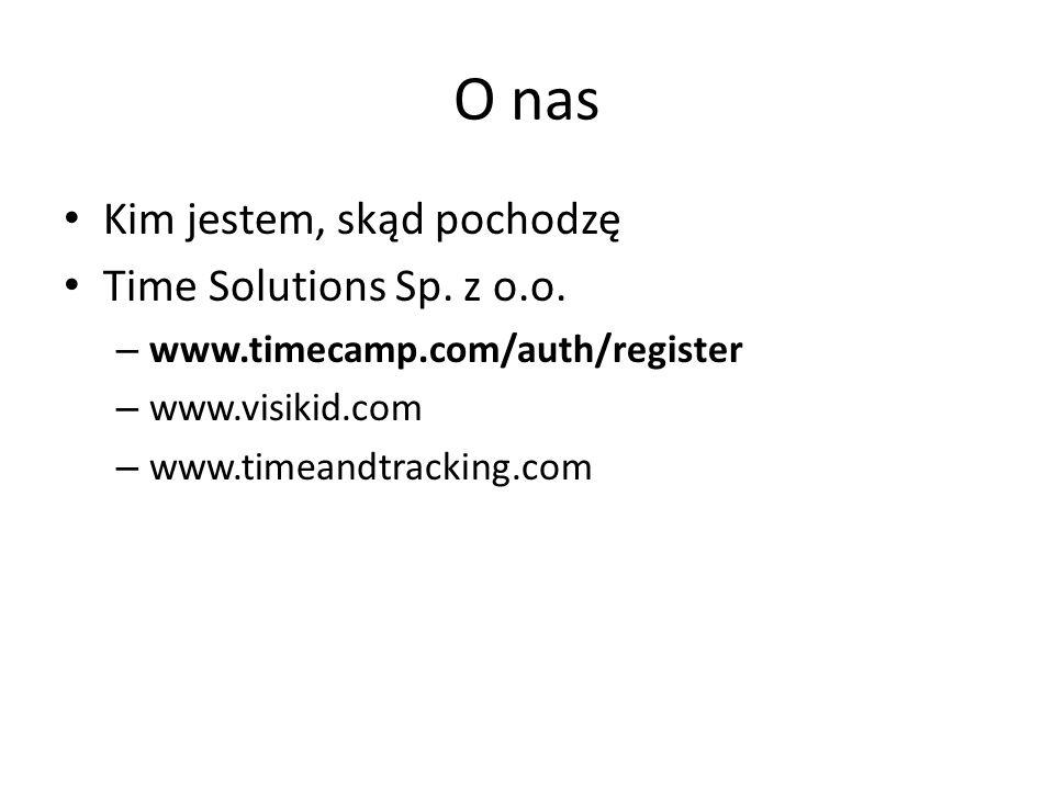 Kalendarium 2012 Kwiecień - TimeCamp staje się pakietem aplikacji do zarządzania czasem 2011 Grudzień – zdobycie ponad 100 klientów Lipiec - pierwszy duży klient na ponad 300 stanowisk komputerowych Czerwiec- firma zatrudnia 8 osób 2010 Lipiec - pozyskanie 300 tys zł od inwestora i powołanie Time Solutions Sp.