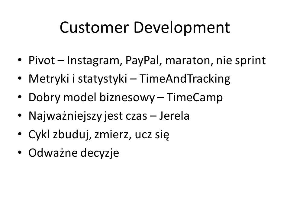 Customer Development Pivot – Instagram, PayPal, maraton, nie sprint Metryki i statystyki – TimeAndTracking Dobry model biznesowy – TimeCamp Najważniejszy jest czas – Jerela Cykl zbuduj, zmierz, ucz się Odważne decyzje