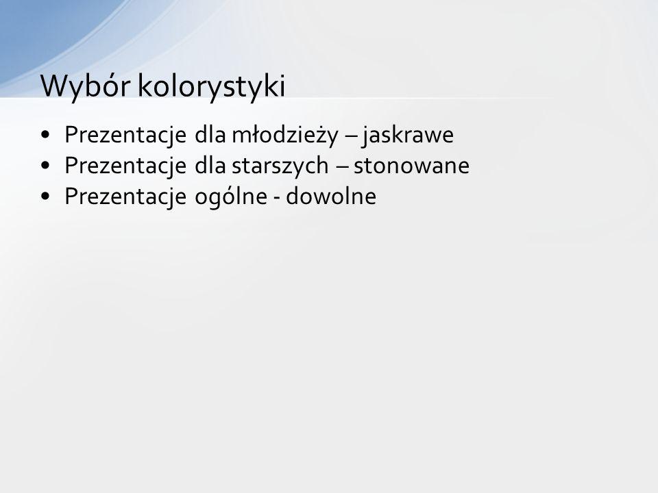 Tytuł Pole zawartości (najczęściej z tekstem) Często, dodatkowo wiele obiektów graficznych Elementy slajdu
