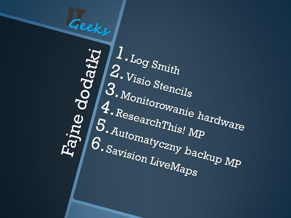 Fajne dodatki 1. Log Smith 2. Visio Stencils 3. Monitorowanie hardware 4. ResearchThis! MP 5. Automatyczny backup MP 6. Savision LiveMaps