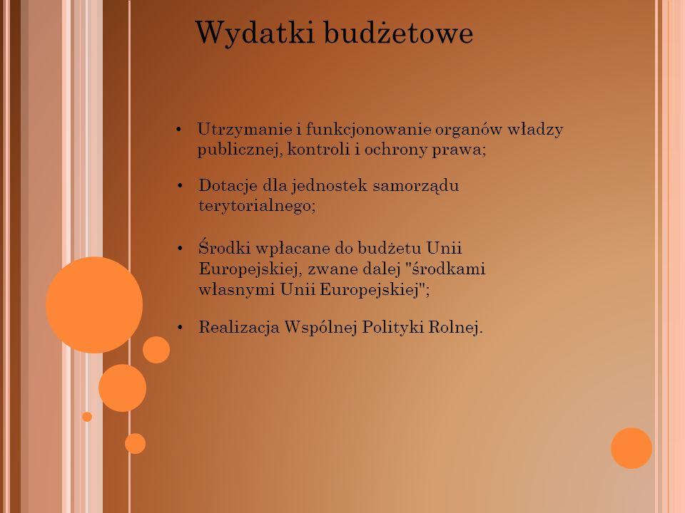 Wydatki budżetowe Utrzymanie i funkcjonowanie organów władzy publicznej, kontroli i ochrony prawa; Dotacje dla jednostek samorządu terytorialnego; Śro
