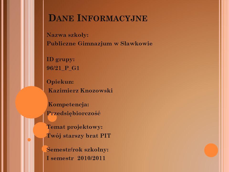 Nazwa szkoły: Publiczne Gimnazjum w Sławkowie ID grupy: 96/21_P_G1 Opiekun: Kazimierz Knozowski Kompetencja: Przedsiębiorczość Temat projektowy: Twój