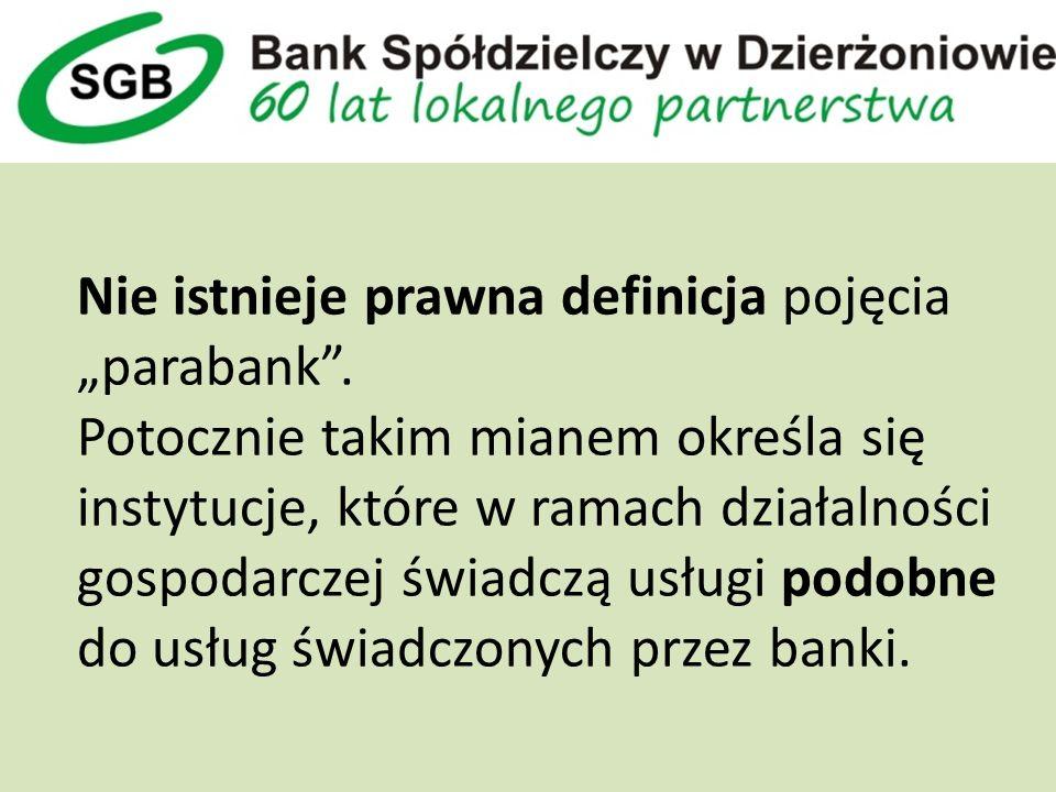 Nie istnieje prawna definicja pojęcia parabank.