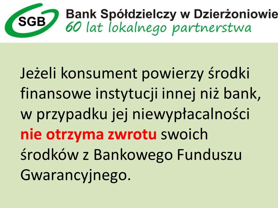 Jeżeli konsument powierzy środki finansowe instytucji innej niż bank, w przypadku jej niewypłacalności nie otrzyma zwrotu swoich środków z Bankowego Funduszu Gwarancyjnego.