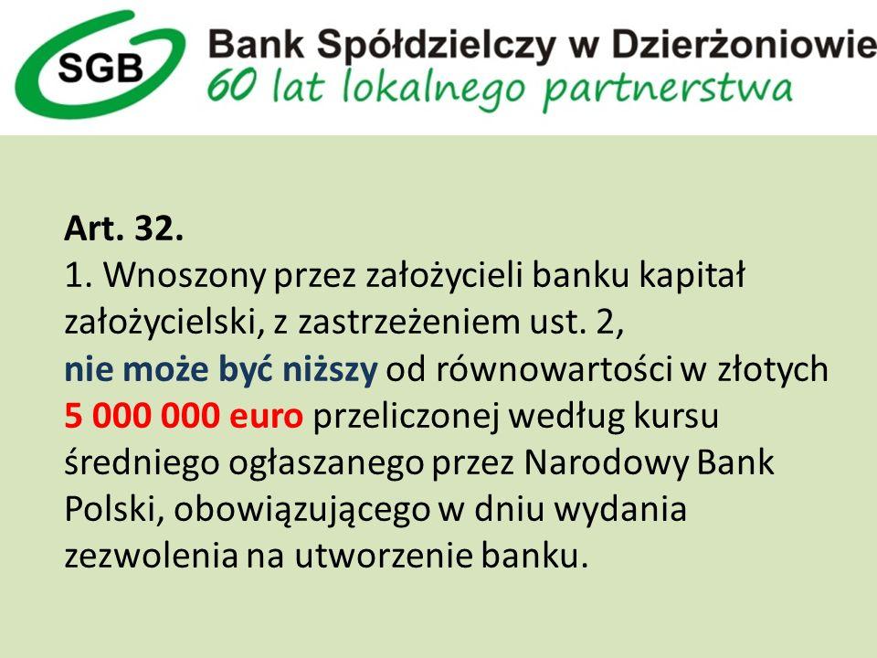 Art. 32. 1. Wnoszony przez założycieli banku kapitał założycielski, z zastrzeżeniem ust.