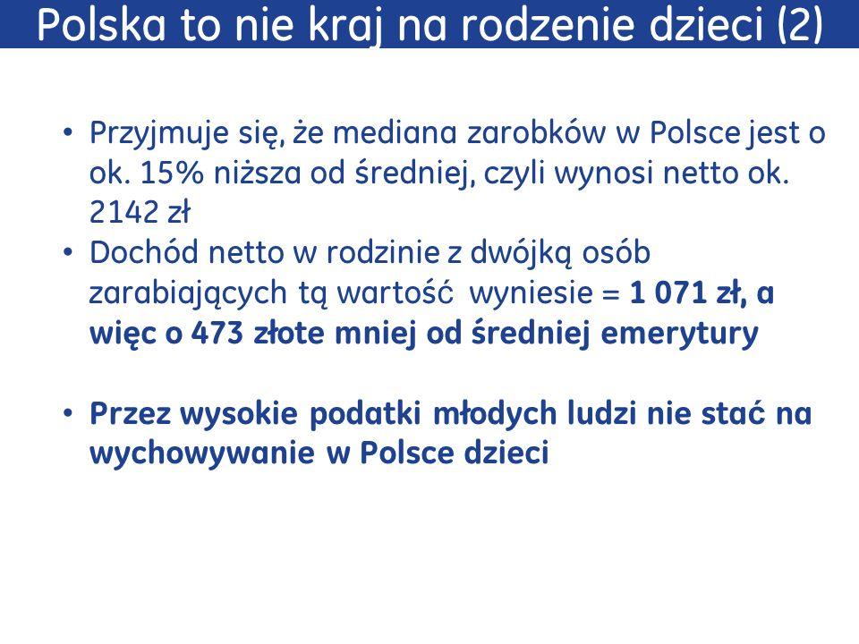 Przyjmuje się, że mediana zarobków w Polsce jest o ok. 15% niższa od średniej, czyli wynosi netto ok. 2142 zł Dochód netto w rodzinie z dwójką osób za