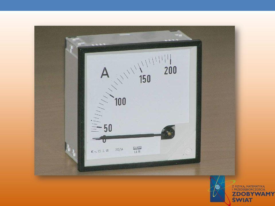 AMPEROMIERZ Amperomierz – przyrząd pomiarowy służący do pomiaru natężenia prądu elektrycznego. Pomiaru natężenia prądu dokonuje się poprzez oddziaływa