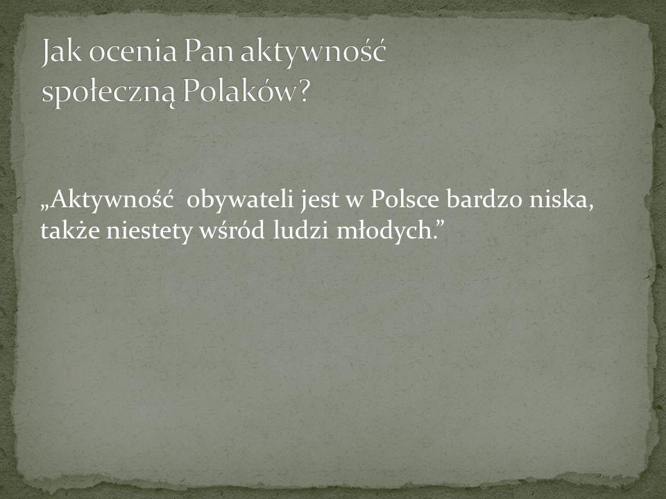 Aktywność obywateli jest w Polsce bardzo niska, także niestety wśród ludzi młodych.