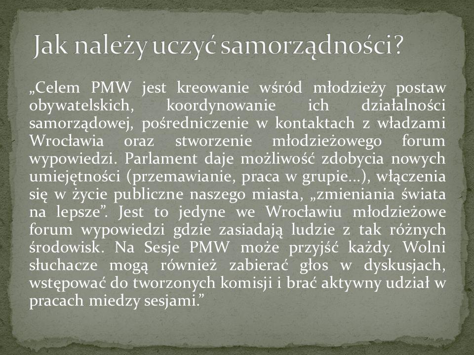 Celem PMW jest kreowanie wśród młodzieży postaw obywatelskich, koordynowanie ich działalności samorządowej, pośredniczenie w kontaktach z władzami Wrocławia oraz stworzenie młodzieżowego forum wypowiedzi.