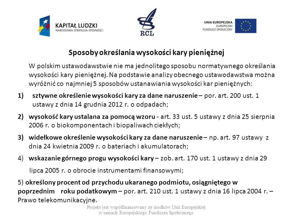 Sposoby określania wysokości kary pieniężnej W polskim ustawodawstwie nie ma jednolitego sposobu normatywnego określania wysokości kary pieniężnej. Na