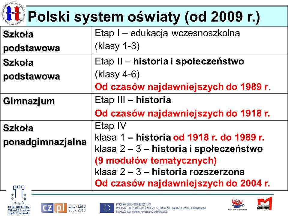 Polski system oświaty (od 2009 r.) Szkołapodstawowa Etap I – edukacja wczesnoszkolna (klasy 1-3) Szkołapodstawowa Etap II – historia i społeczeństwo (klasy 4-6) Od czasów najdawniejszych do 1989 r.
