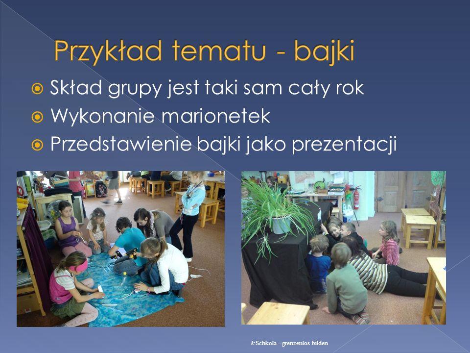 Skład grupy jest taki sam cały rok Wykonanie marionetek Przedstawienie bajki jako prezentacji š:Schkola - grenzenlos bilden