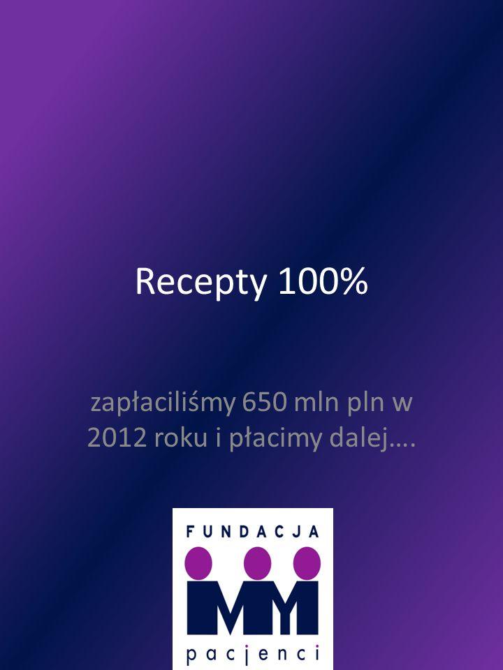 Recepty 100% zapłaciliśmy 650 mln pln w 2012 roku i płacimy dalej….