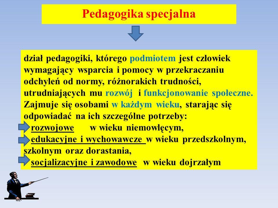 dział pedagogiki, którego podmiotem jest człowiek wymagający wsparcia i pomocy w przekraczaniu odchyleń od normy, różnorakich trudności, utrudniającyc