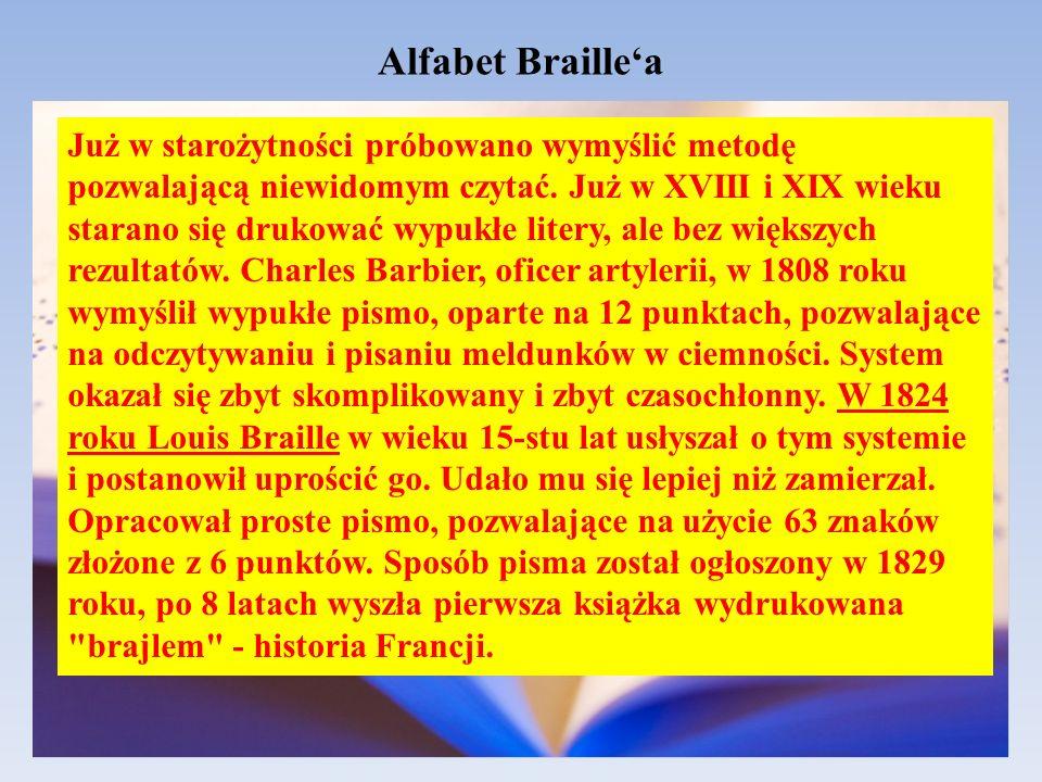 Alfabet Braillea Już w starożytności próbowano wymyślić metodę pozwalającą niewidomym czytać. Już w XVIII i XIX wieku starano się drukować wypukłe lit