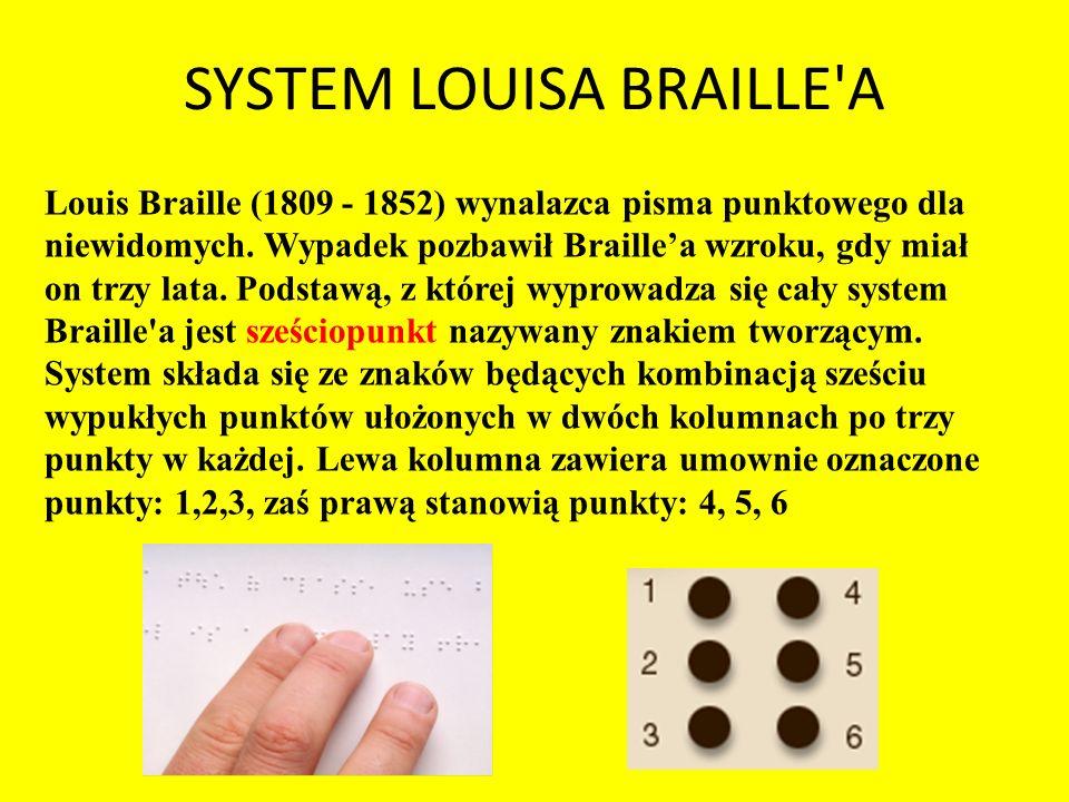 SYSTEM LOUISA BRAILLE'A Louis Braille (1809 - 1852) wynalazca pisma punktowego dla niewidomych. Wypadek pozbawił Braillea wzroku, gdy miał on trzy lat