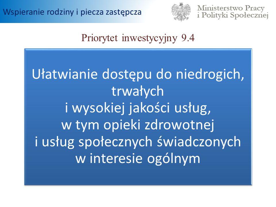 Priorytet inwestycyjny 9.4 Ułatwianie dostępu do niedrogich, trwałych i wysokiej jakości usług, w tym opieki zdrowotnej i usług społecznych świadczony