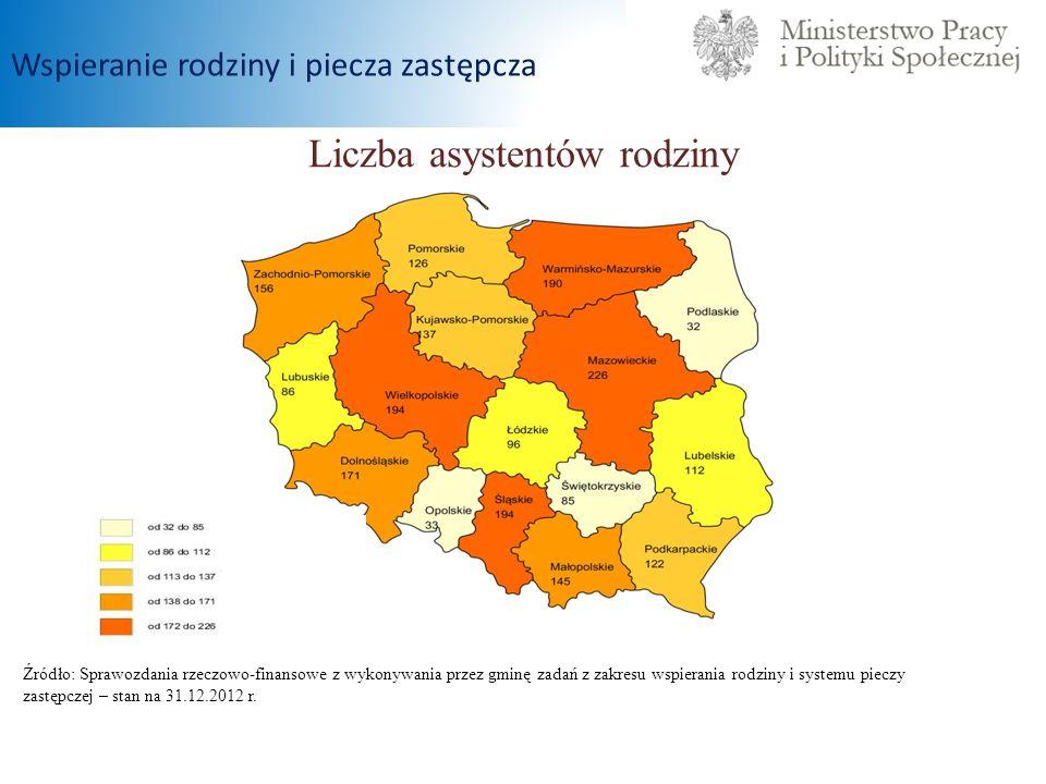 Liczba asystentów rodziny Źródło: Sprawozdania rzeczowo-finansowe z wykonywania przez gminę zadań z zakresu wspierania rodziny i systemu pieczy zastęp