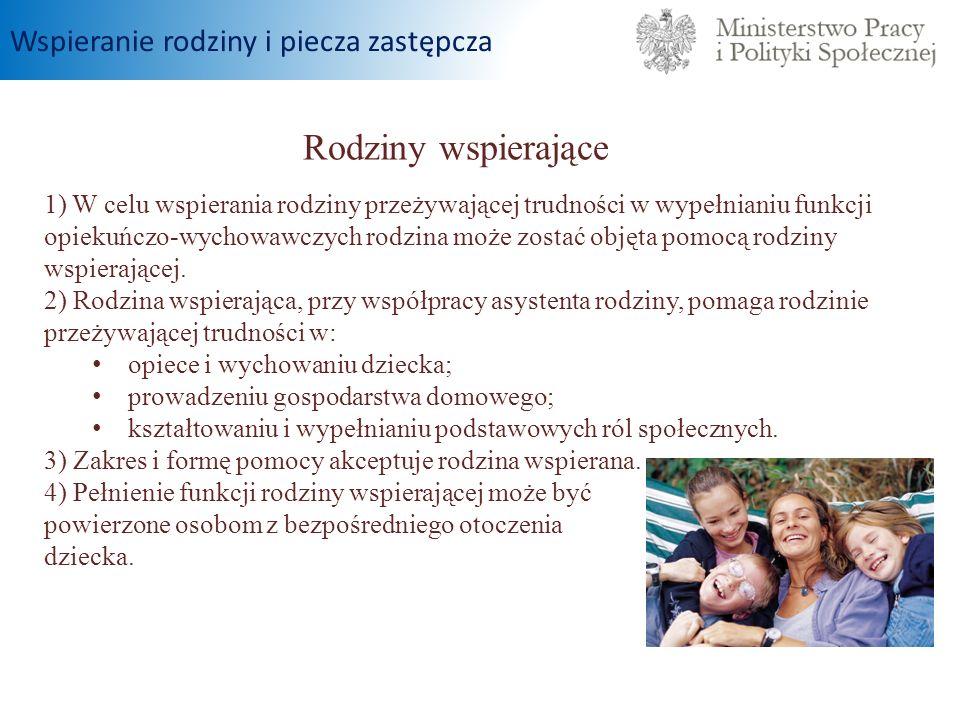 Rodziny wspierające 1) W celu wspierania rodziny przeżywającej trudności w wypełnianiu funkcji opiekuńczo-wychowawczych rodzina może zostać objęta pom