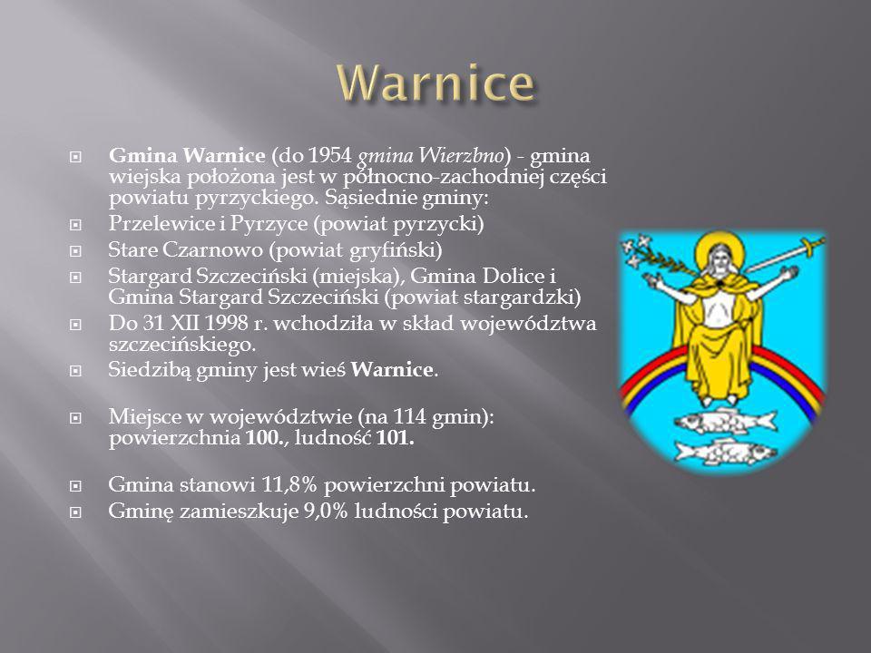 Gmina Warnice (do 1954 gmina Wierzbno ) - gmina wiejska położona jest w północno-zachodniej części powiatu pyrzyckiego. Sąsiednie gminy: Przelewice i