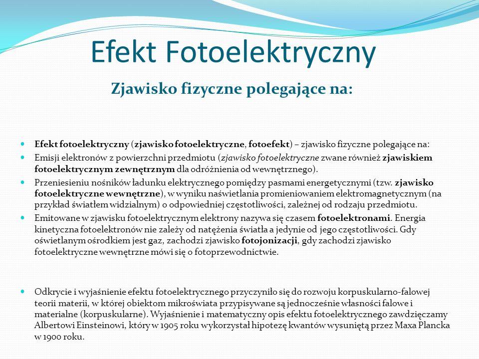 Efekt Fotoelektryczny Zjawisko fizyczne polegające na: Efekt fotoelektryczny (zjawisko fotoelektryczne, fotoefekt) – zjawisko fizyczne polegające na: