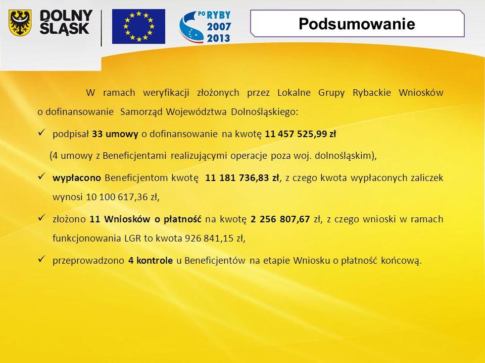 W ramach weryfikacji złożonych przez Lokalne Grupy Rybackie Wniosków o dofinansowanie Samorząd Województwa Dolnośląskiego: podpisał 33 umowy o dofinansowanie na kwotę 11 457 525,99 zł (4 umowy z Beneficjentami realizującymi operacje poza woj.