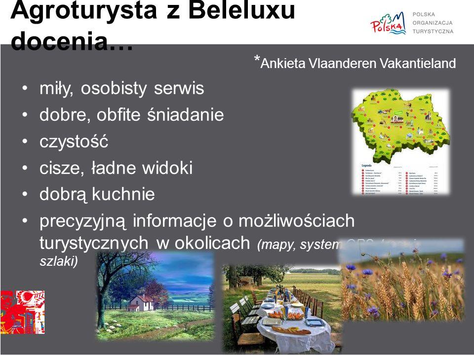 Agroturysta z Beleluxu docenia… miły, osobisty serwis dobre, obfite śniadanie czystość cisze, ładne widoki dobrą kuchnie precyzyjną informacje o możli