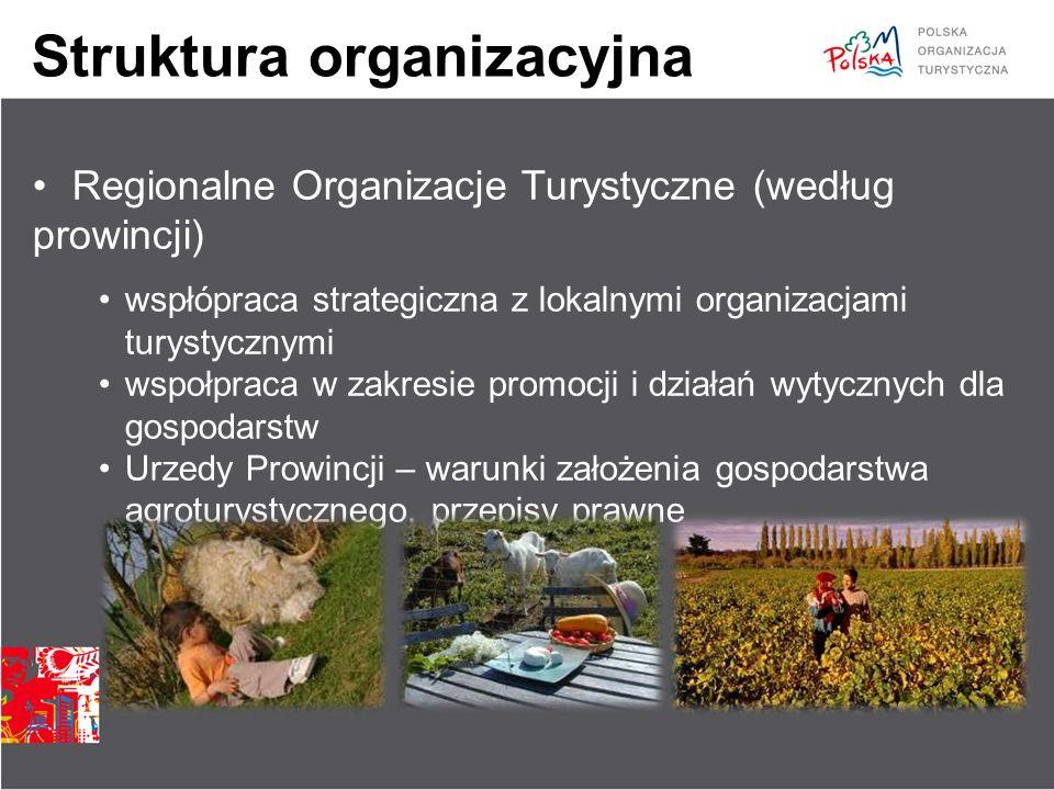 Struktura organizacyjna Regionalne Organizacje Turystyczne (według prowincji) wspłópraca strategiczna z lokalnymi organizacjami turystycznymi wspołpra