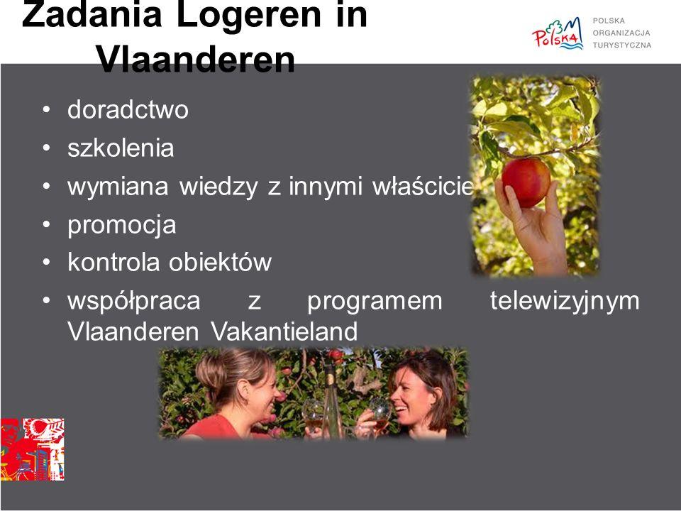 Zadania Logeren in Vlaanderen doradctwo szkolenia wymiana wiedzy z innymi właścicielami promocja kontrola obiektów współpraca z programem telewizyjnym