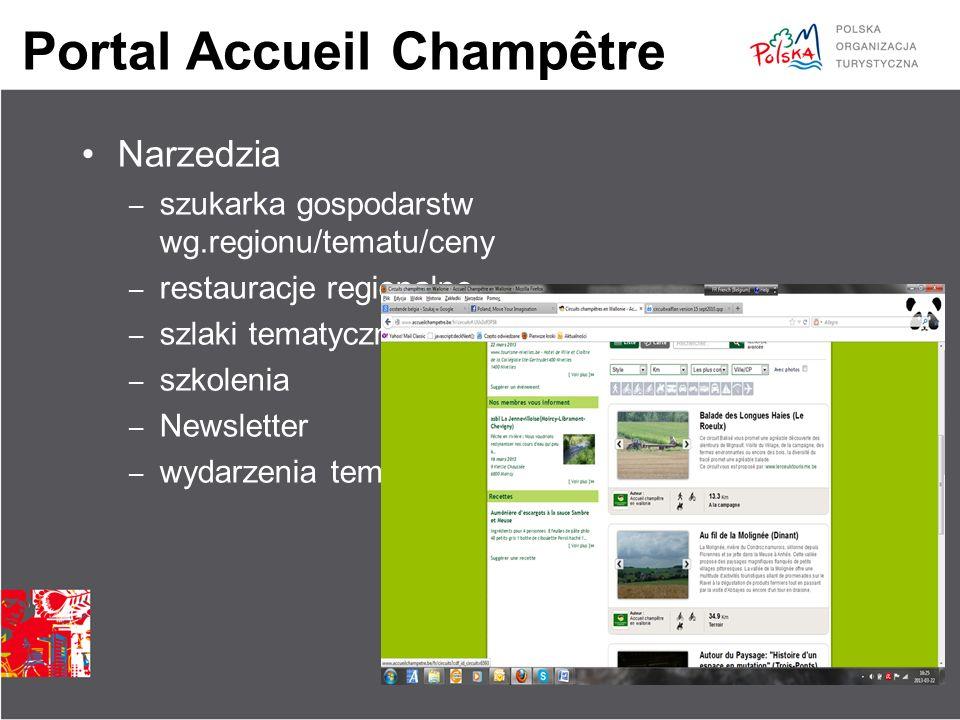 Portal Accueil Champêtre Narzedzia – szukarka gospodarstw wg.regionu/tematu/ceny – restauracje regionalne – szlaki tematyczne – szkolenia – Newsletter