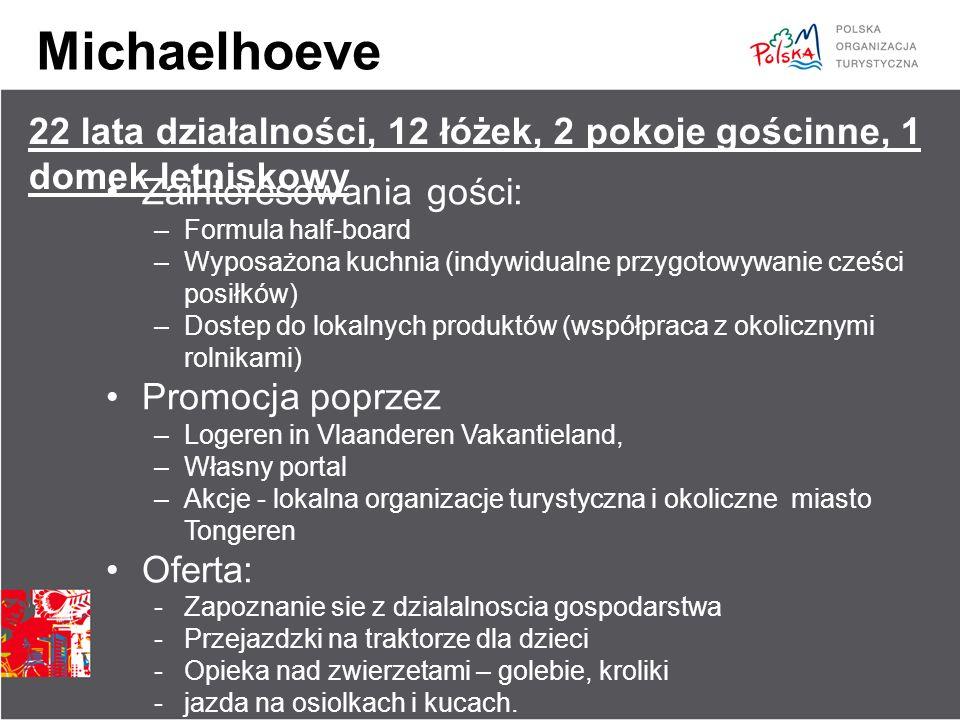 Michaelhoeve Zainteresowania gości: –Formula half-board –Wyposażona kuchnia (indywidualne przygotowywanie cześci posiłków) –Dostep do lokalnych produk