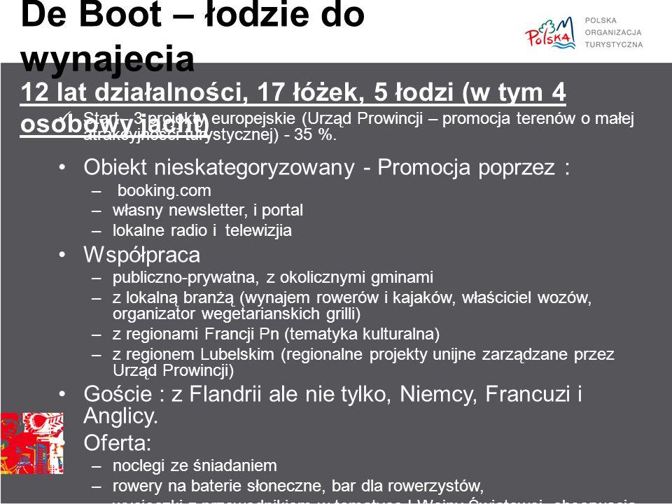 De Boot – łodzie do wynajecia Start - 3 projekty europejskie (Urząd Prowincji – promocja terenów o małej atrakcyjności turystycznej) - 35 %. Obiekt ni