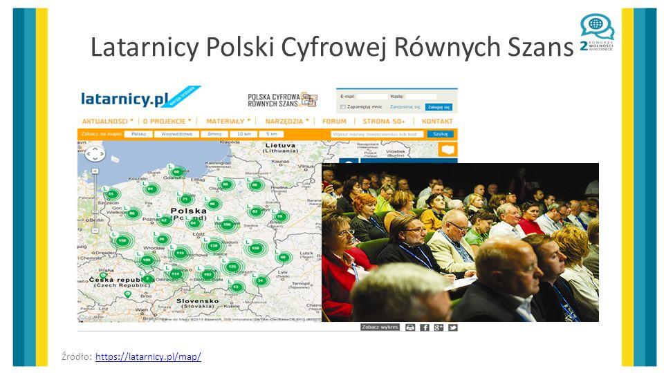 Latarnicy Polski Cyfrowej Równych Szans Źródło: https://latarnicy.pl/map/https://latarnicy.pl/map/