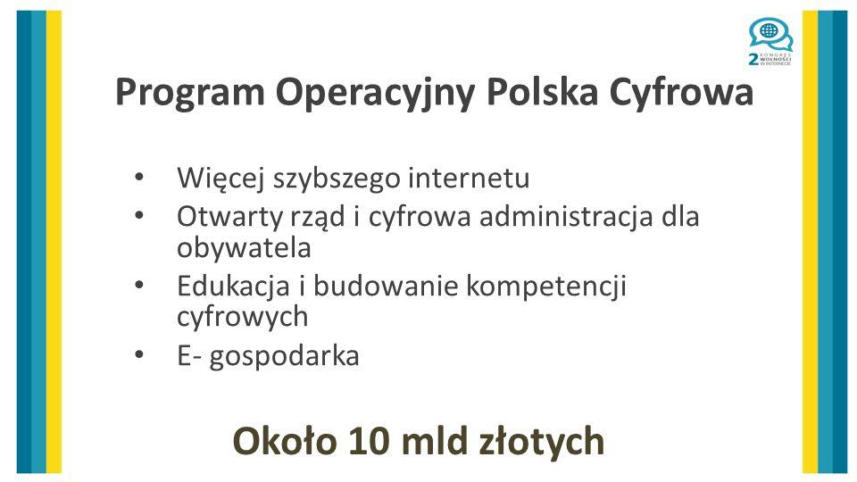Program Operacyjny Polska Cyfrowa Więcej szybszego internetu Otwarty rząd i cyfrowa administracja dla obywatela Edukacja i budowanie kompetencji cyfrowych E- gospodarka Około 10 mld złotych
