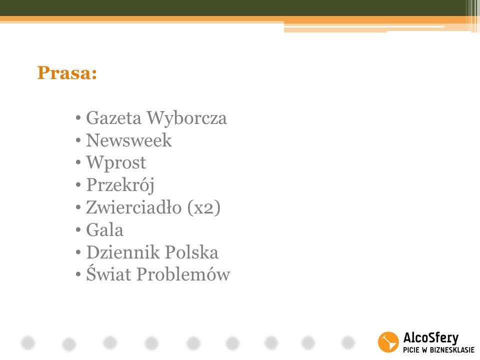Prasa: Gazeta Wyborcza Newsweek Wprost Przekrój Zwierciadło (x2) Gala Dziennik Polska Świat Problemów