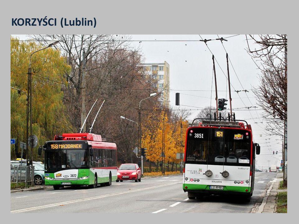 KORZYŚCI (Lublin) 1.Wzrost wielkości pracy eksploatacyjnej komunikacji trolejbusowej z ponad 2,8 mln wzkm do prawie 5 mln wzkm w 2014 r. 2.Wzrost śred