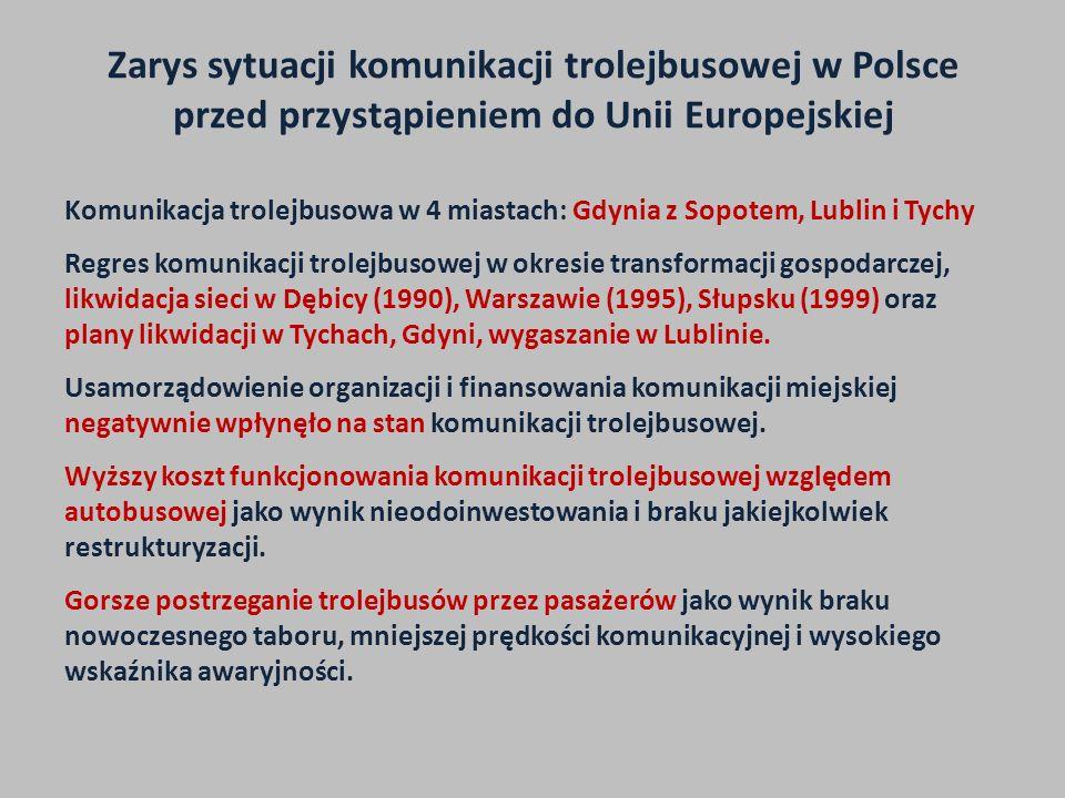 Zarys sytuacji komunikacji trolejbusowej w Polsce przed przystąpieniem do Unii Europejskiej Komunikacja trolejbusowa w 4 miastach: Gdynia z Sopotem, L