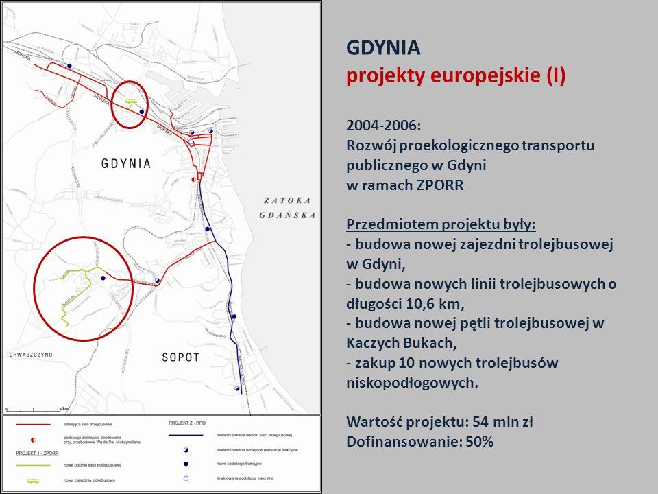 GDYNIA projekty europejskie (I) 2004-2006: Rozwój proekologicznego transportu publicznego w Gdyni w ramach ZPORR Przedmiotem projektu były: - budowa n